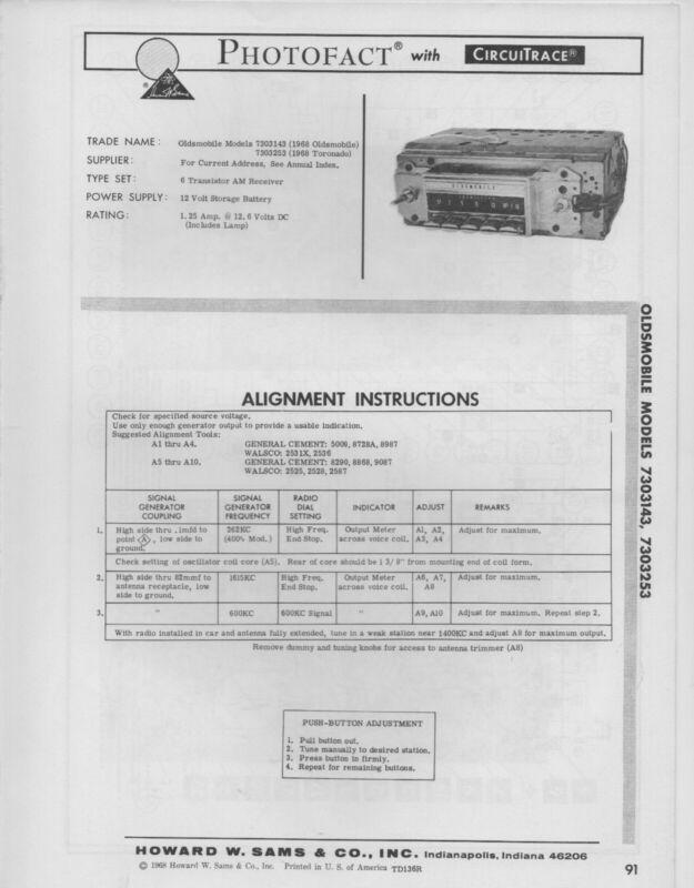1968 OLDSMOBILE 7303143 7303253 RADIO SERVICE MANUAL