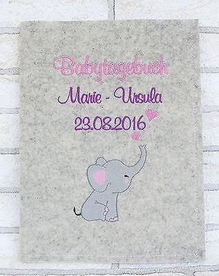 Babytagebuch zur Geburt Personalisiert mit Name - Filz Taufgeschenk Babyalbum 4