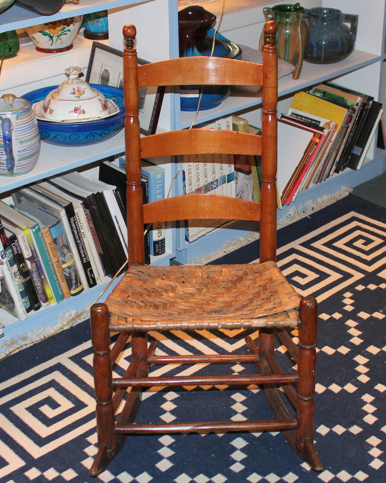 Antique Early New England Shaker Type Rocking Chair Splint