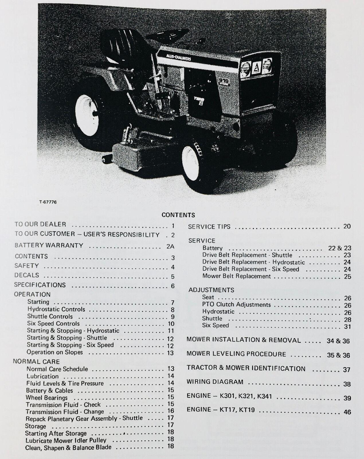 deutz 914 wiring diagram cat5 wall socket uk allis chalmers 912h 916h 917h lawn garden tractor