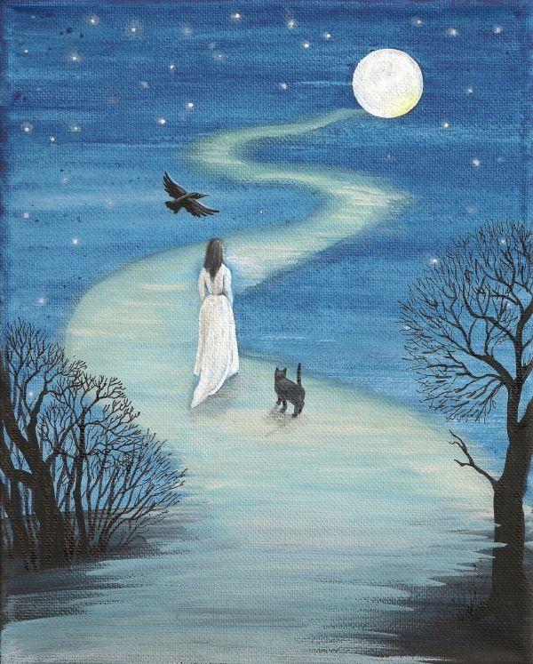 8x10 Print Painting Ryta Black Cat Raven Crow Wicca Gothic