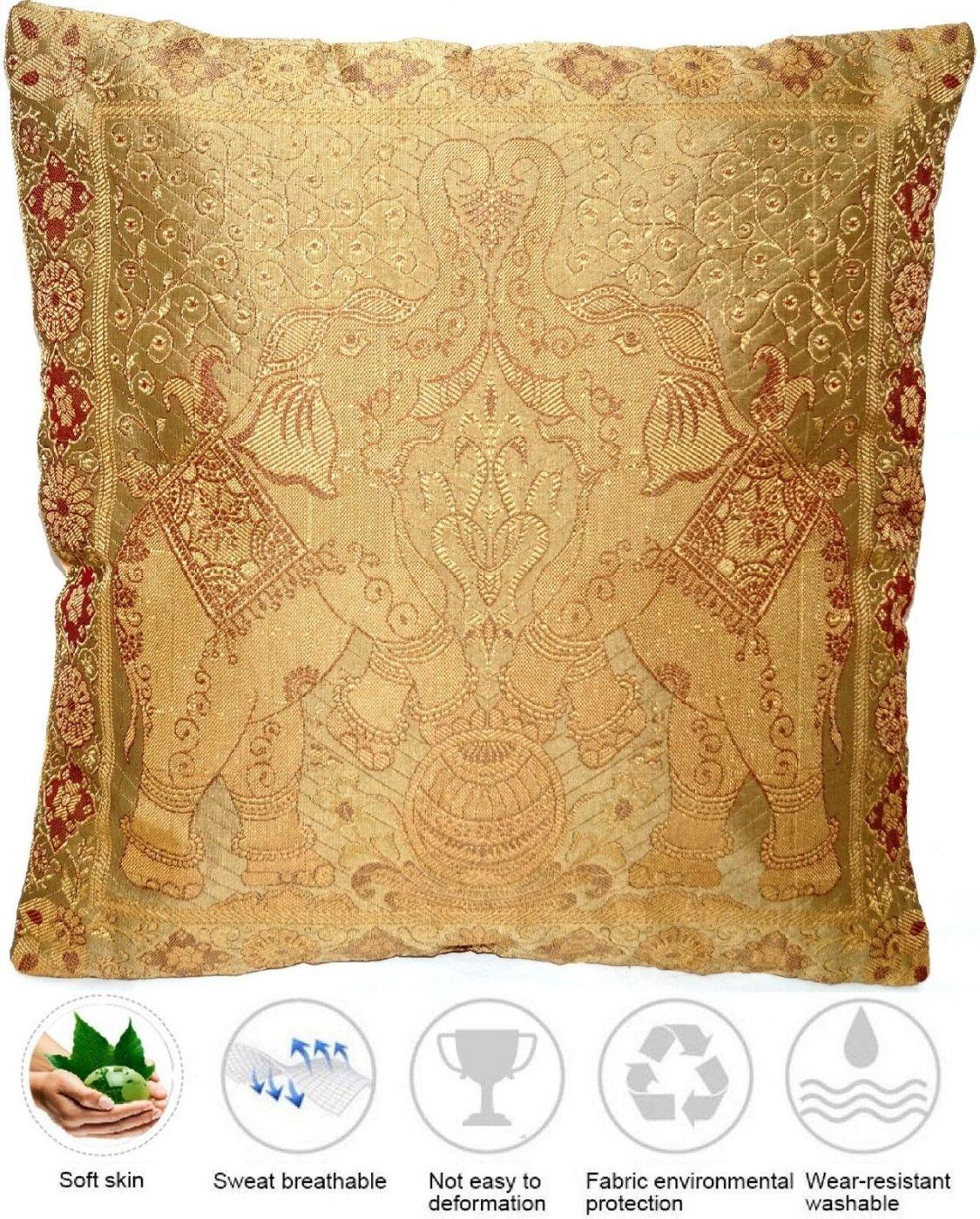 Golden Seide Kissenbezug   Zierkissenbezug   Handgefertigt aus Indien 40cmx40cm