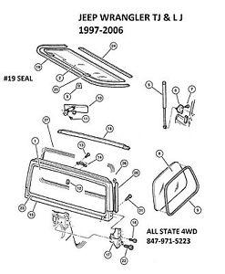 Jeep Wrangler 97 06 1997 2006 Lift Gate Seal 55175041AH