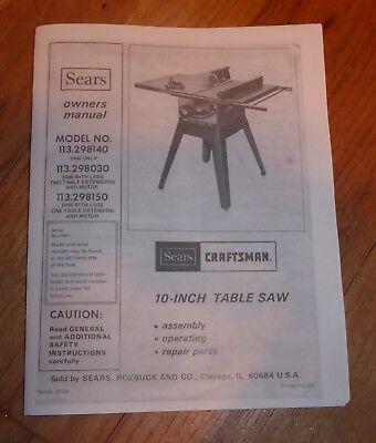Craftsman 137 Table Saw Manual