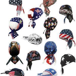 American Flag Skull Cap Patriotic Doo Rag Bald Eagle Bandana Chemo Dorag Hat Men