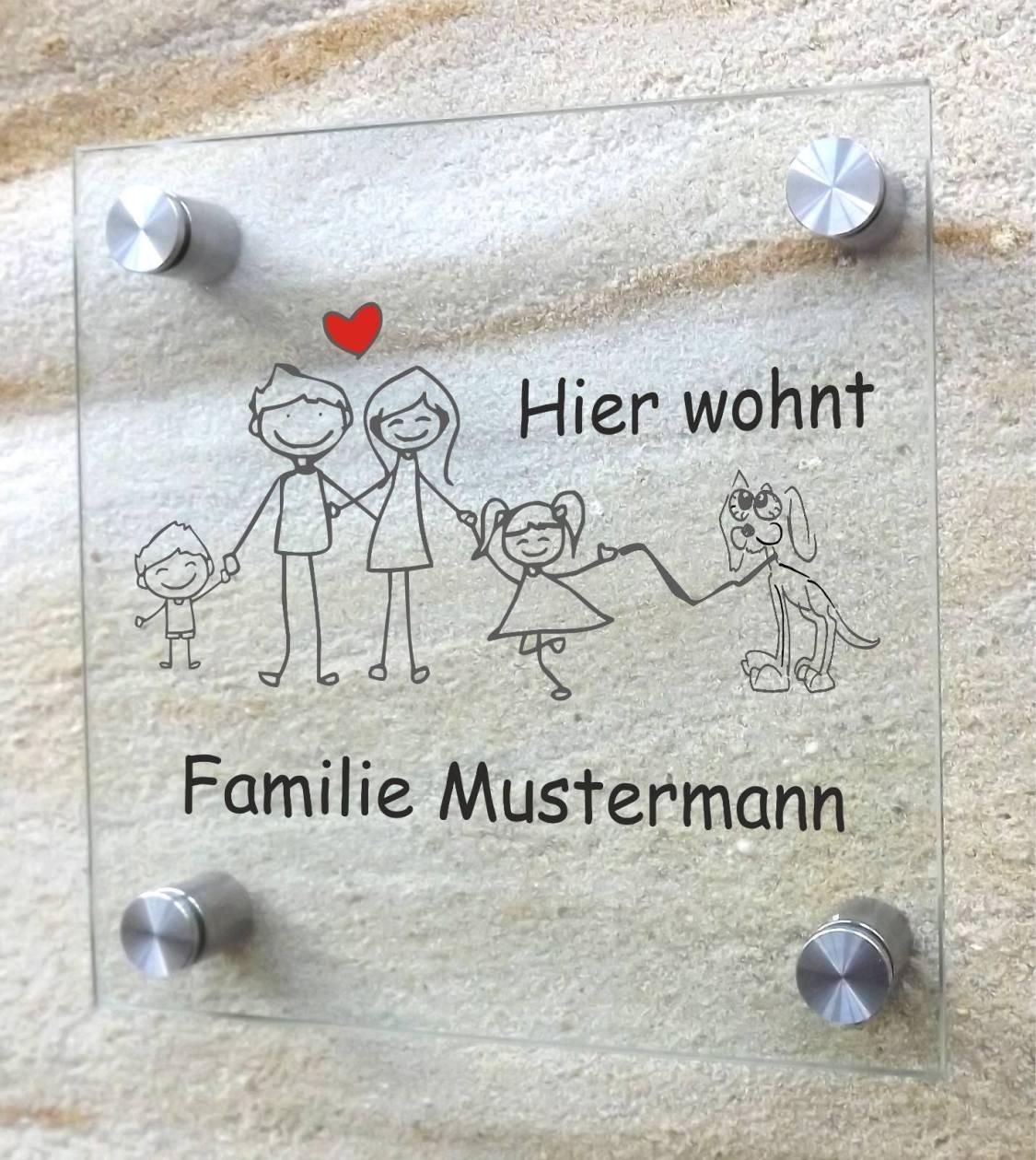 👪 Familienschild | individuelles Türschild für die ganze Familie im Comic-Style