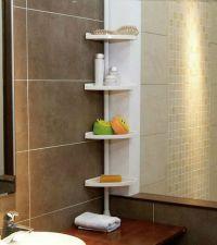 WHITE 4 Tier Adjustable Telescopic Corner Shower Bathroom ...