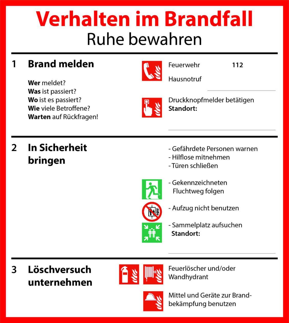 Schild Verhalten im Brandfall PVC Aufkleber Sticker
