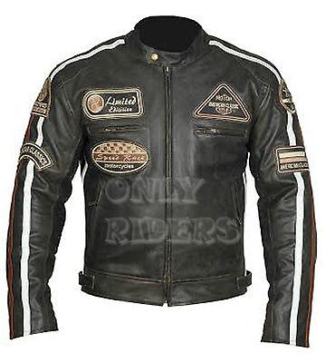 Chaqueta En Piel Para Moto,Leather Jacket, Vintage, Marron, Biker, Talla 2XL