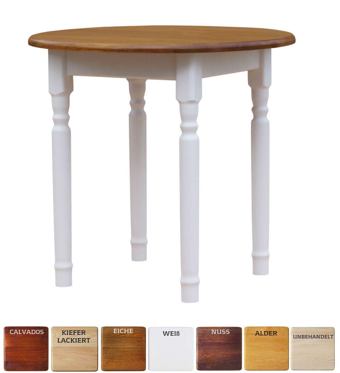 Runder Kiefer Tisch Esstisch Holz Küchentisch massiv weiß honig Landhausstil