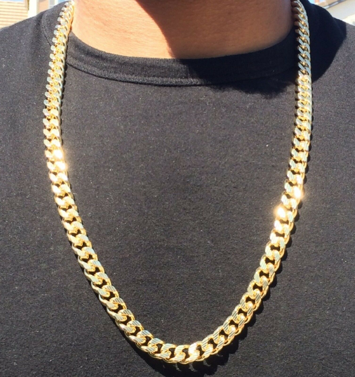 14k Gold Cuban Link Curb Chain With Diamond Cuts