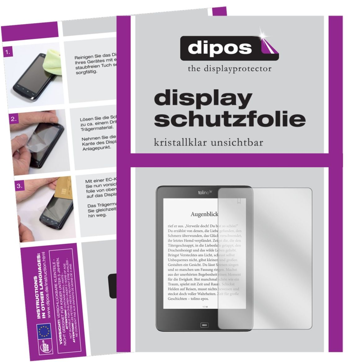 2x Tolino Epos eBook Reader Schutzfolie klar Displayschutzfolie Folie Display