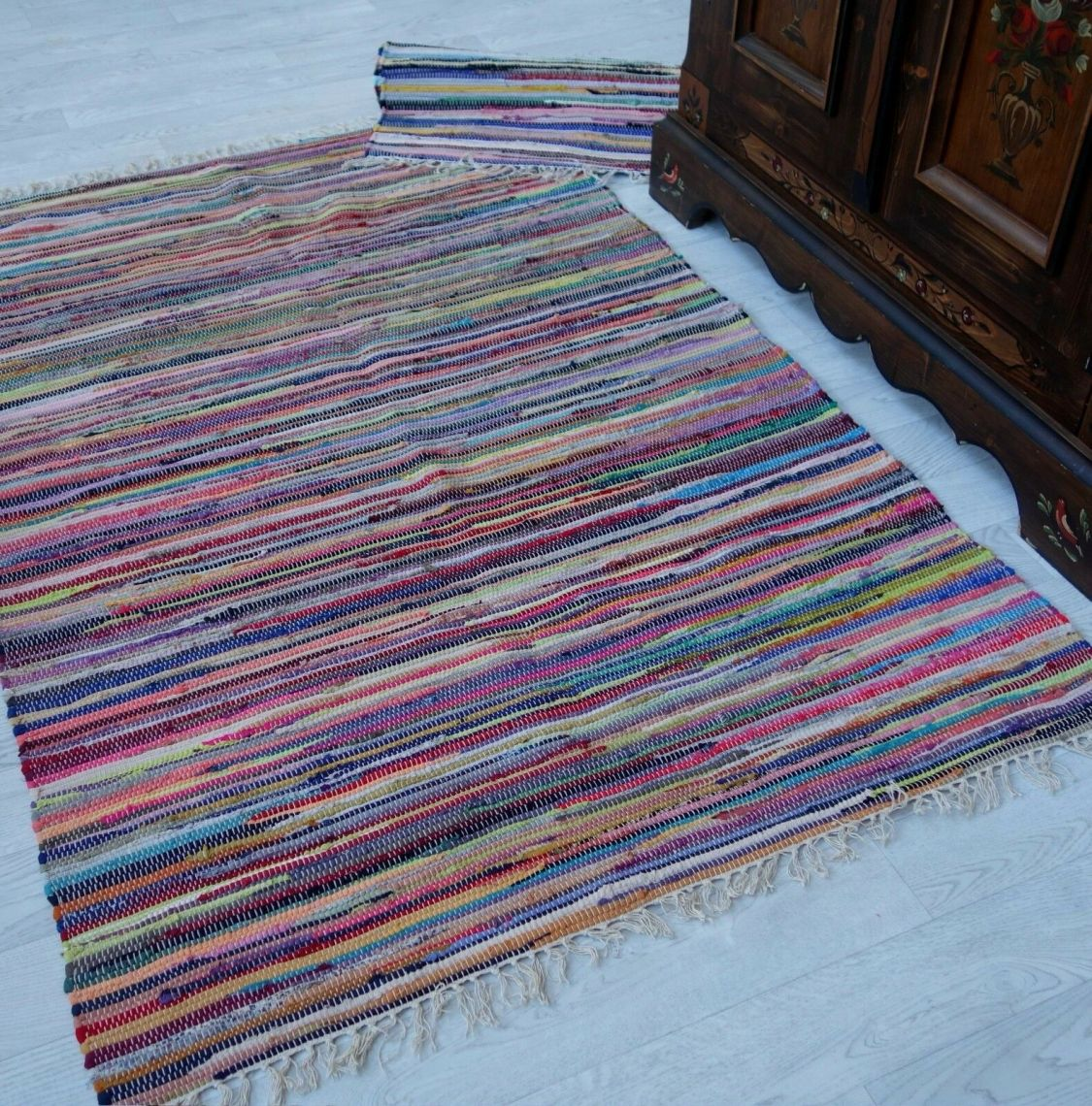 Fleckerl KUFSTEIN Baumwolle multicolor viele Größen wählbar Handweb Teppich