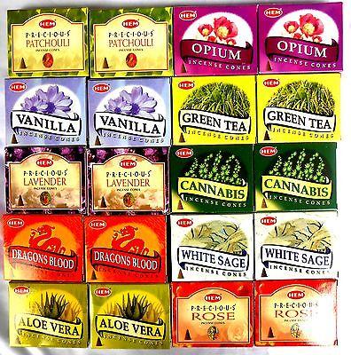 RÄUCHERKEGEL 20 x 10 Räucherkerzen HEM =200 Rose Opium Sage  Cannabis Vanille
