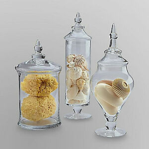 New Large Set of 3 Glass Apothecary Jar Glass Set w Lids Candy Bathroom Decor  eBay