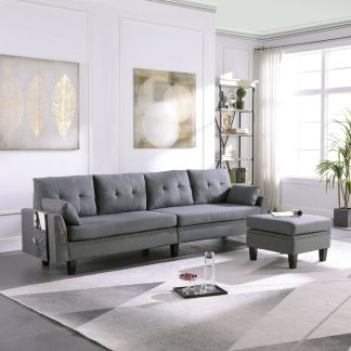 4-Seaters Sectional Sofa/Couch with Storage Ottoman Pillows Upholstered Fabric