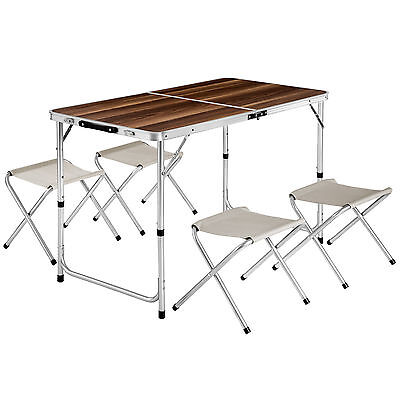 Koffertisch mit 4 Sitzhocker Set Klapptisch Campingtisch Sitzgruppe Aluminium