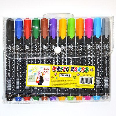 whiteboard marker 12er Set  mit Tasche bunt Lila Gelb Orange Pink Lila Grau Blau
