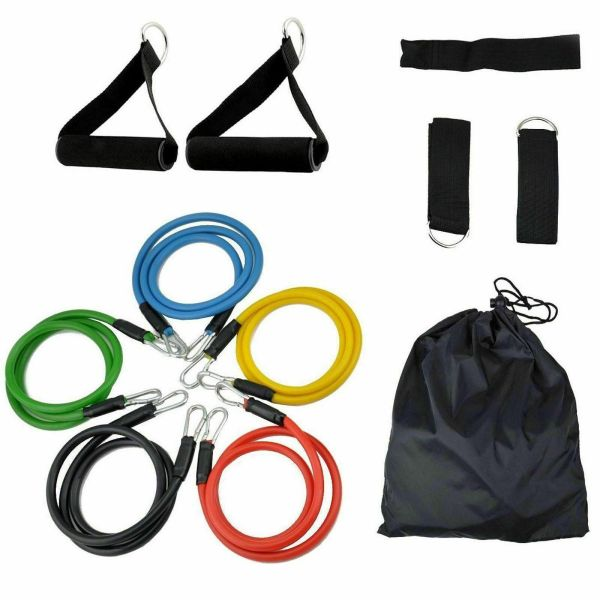 Resistance Bands Set Yoga Pilates Latex Exercise Fitness Tube Workout Band 11PCS 1