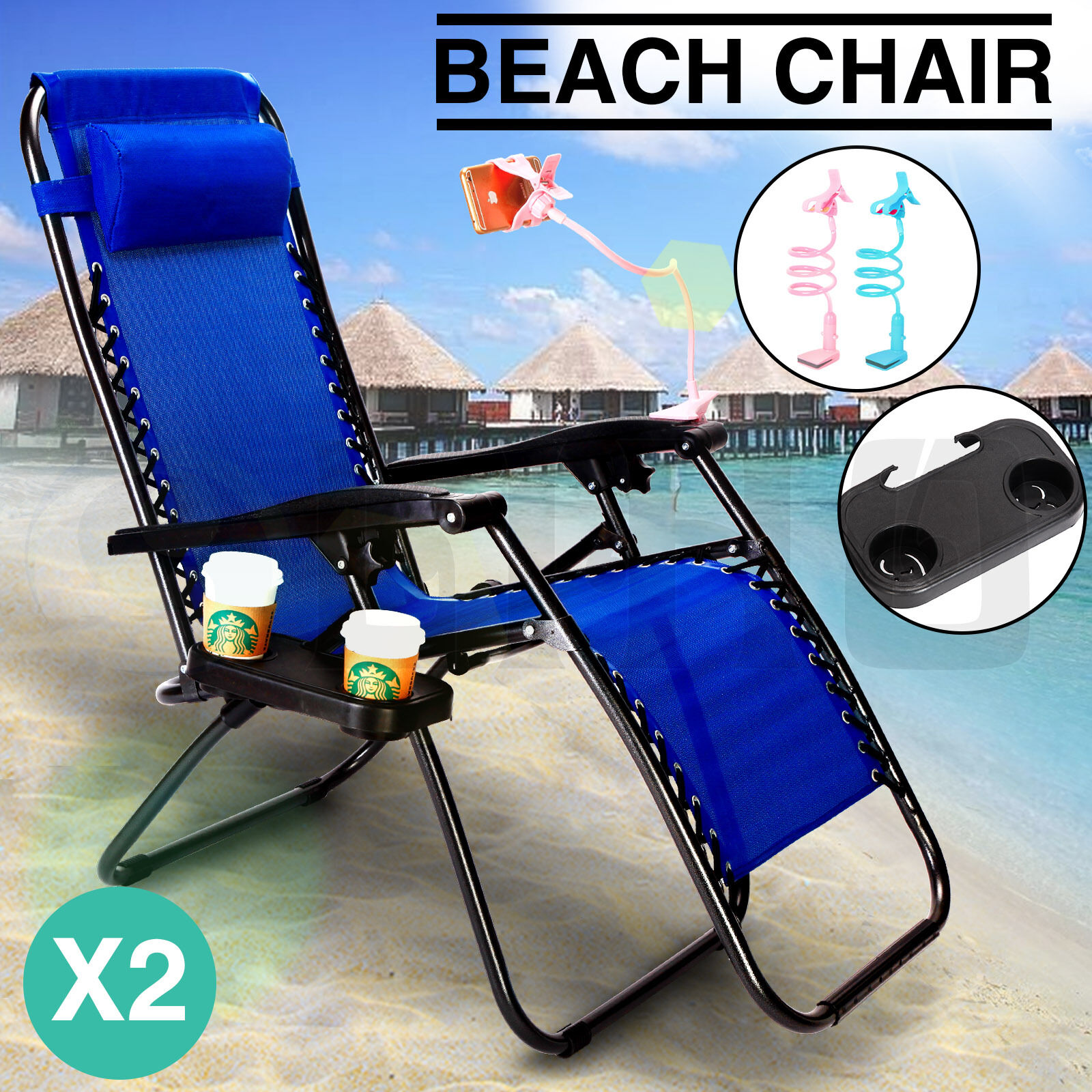 2 Navy Zero Gravity Lounge Beach Chair+Utility Tray