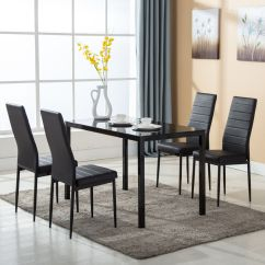 Metal Kitchen Table Sets Mid Level Cabinets 5 Piece Dining Set 4 Chairs Glass Room Breakfast Furniture
