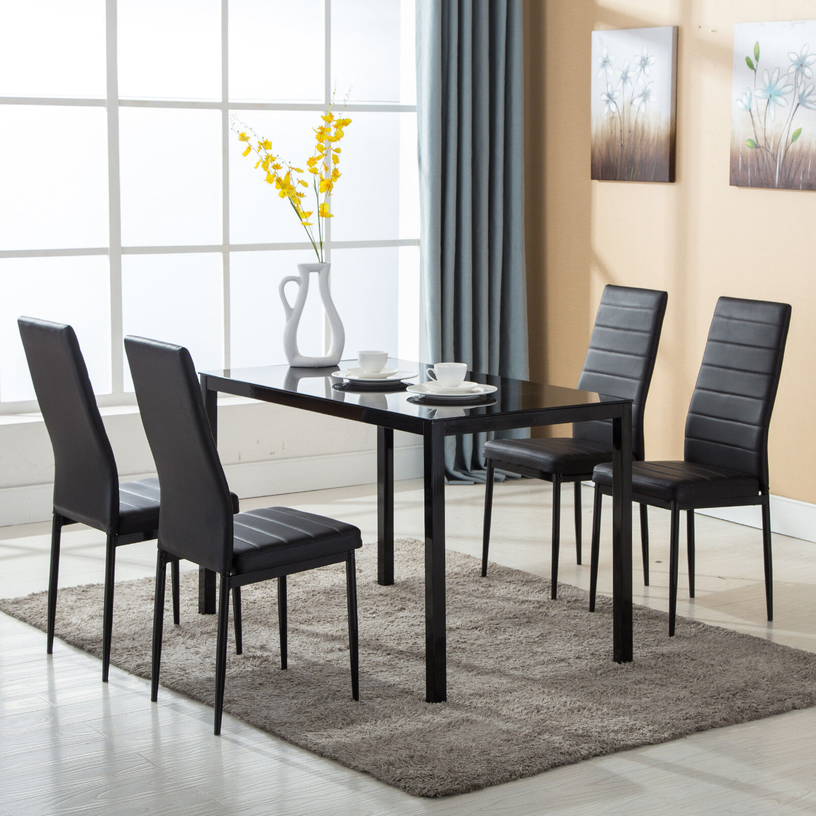 Dining Room Chairs Set Of 4 Details About 5 Piece Dining Table Set 4 Chairs Glass Metal Kitchen Room Breakfast Furniture