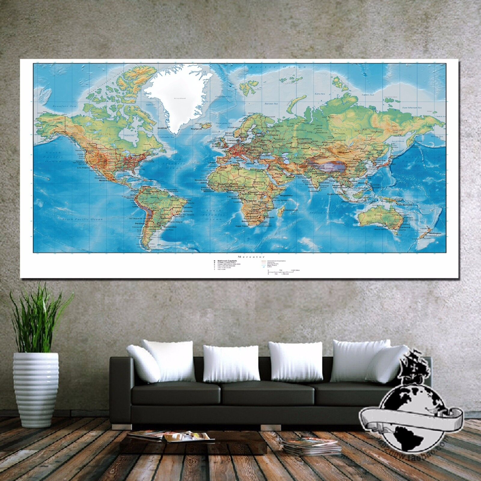 huge banner canvas earth ocean world map wall poster