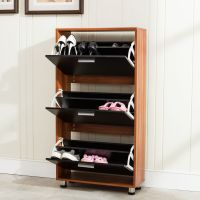 3 Drawer Shoe Storage Cabinet Black Melamine Laminated