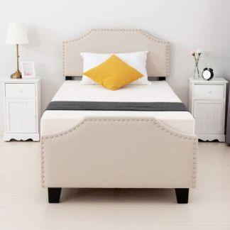 Twin Size Bedroom Metal Platform Bed Frame w/ Linen Headboard Footboard Beige