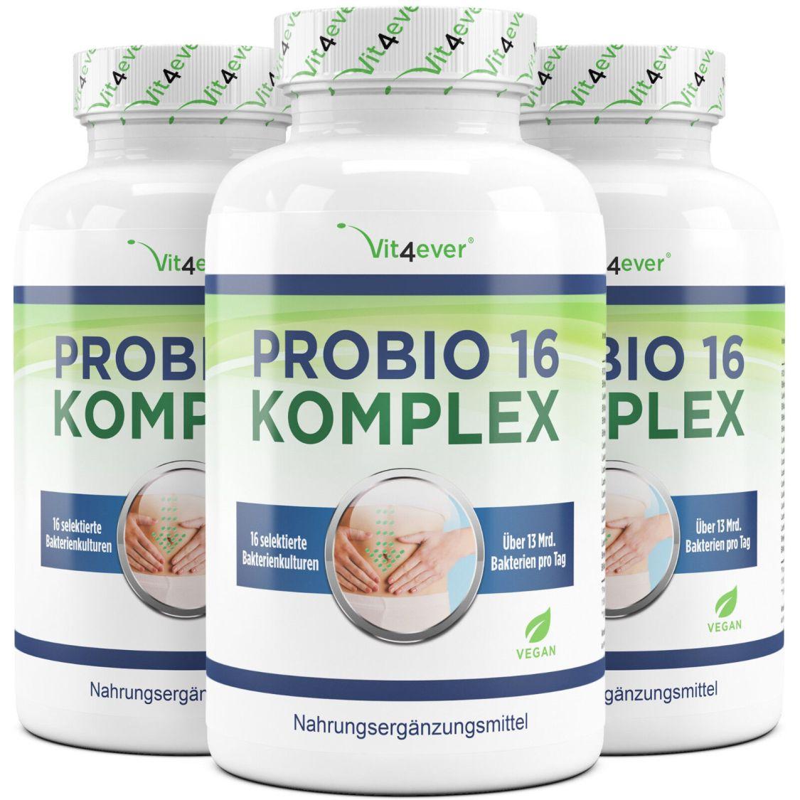 3x Probiotika Komplex = 360 Kapseln 13 Mrd. Bakterien 16 Bakterienstämme + FOS
