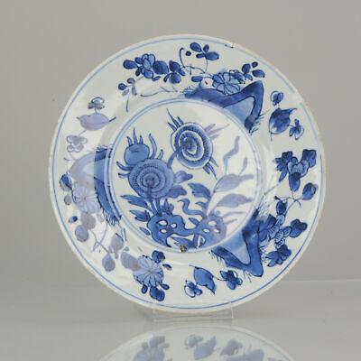 Antique Chinese Kangxi Plate Cobalt Blue White Lotus China Porcelain