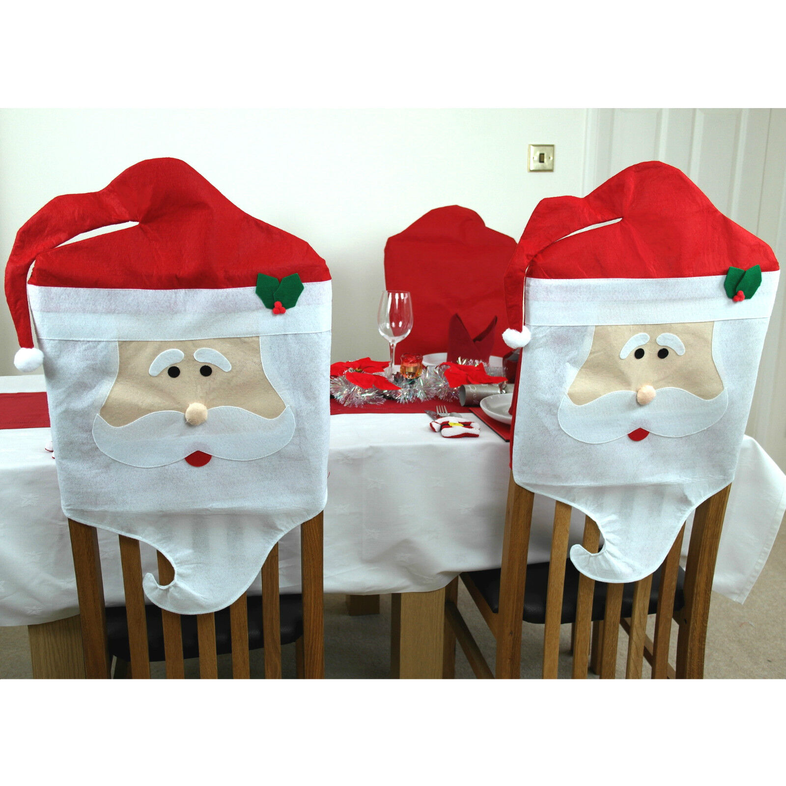dining chair covers for christmas daycare table and set 2 x santa father decorations