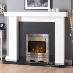 Electric White Surround Black Granite Wall Silver Fire Big Fireplace Suite 54 Ebay