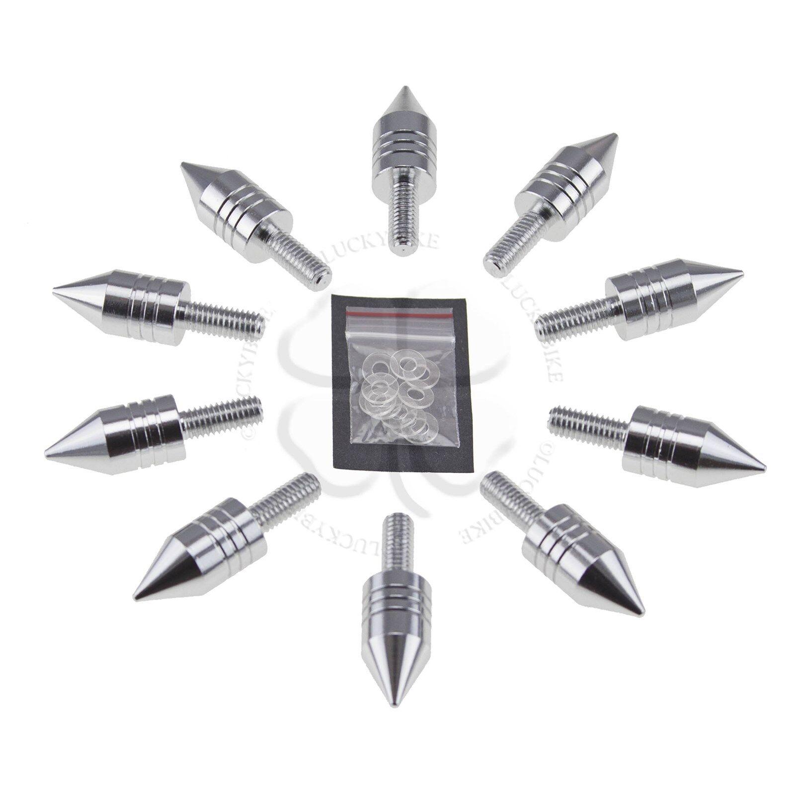 10 Silver Spike Windscreen Fairing Bolt 6mm Set Suzuki