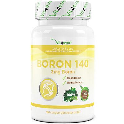 Bor - 140 Tabletten mit 3 mg - Spurenelement - Hochdosiert - Vit4ever - Boron