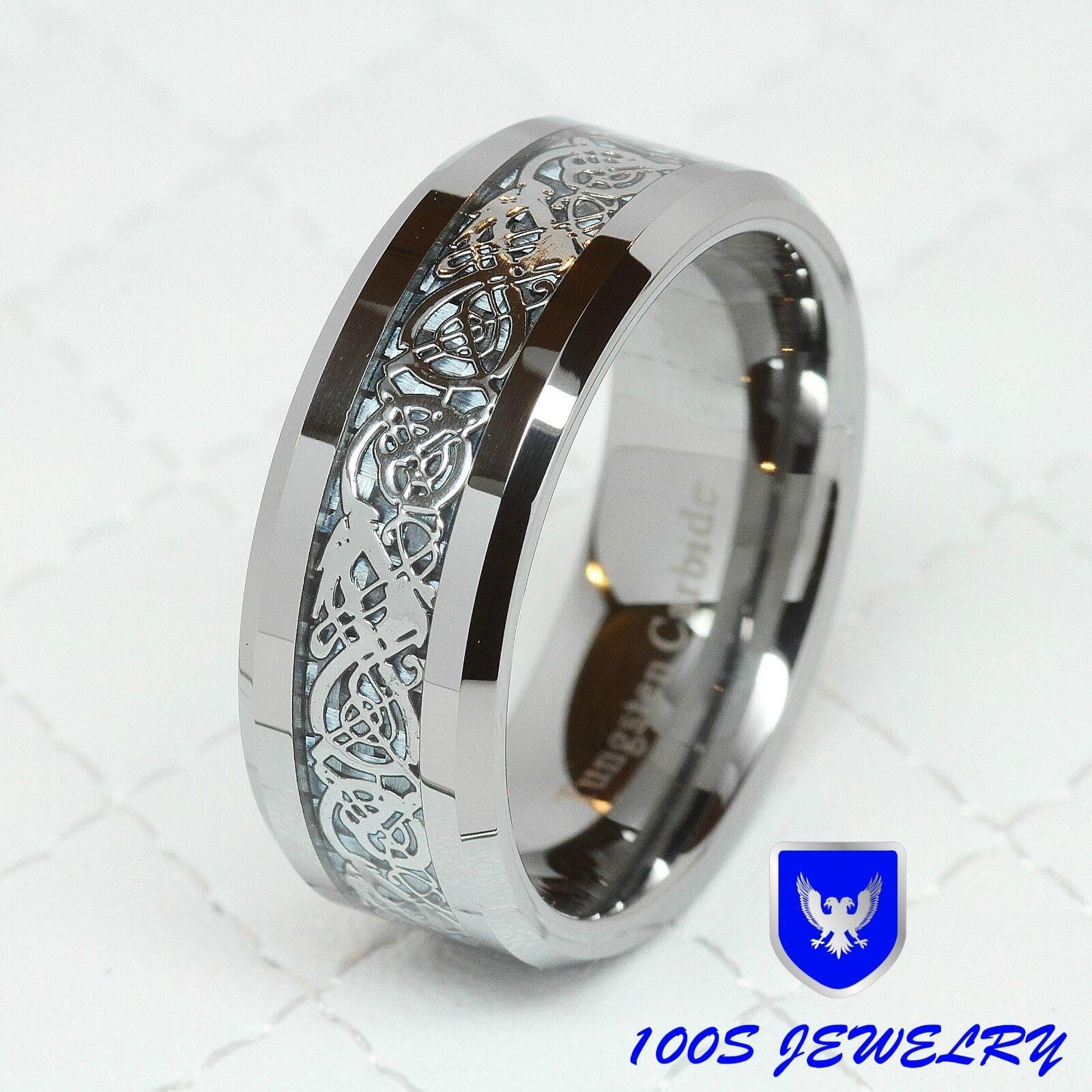 8MM Tungsten Carbide Silver Celtic Dragon Inlay Mens Ring