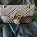AUTHENTIC GUCCI MARMONT SHOULDER BAG BEIGE LEATHER SMALL