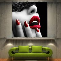 Wall-Art-Canvas-Print-Red-Lips-Modern-Home-Fine-Photo ...