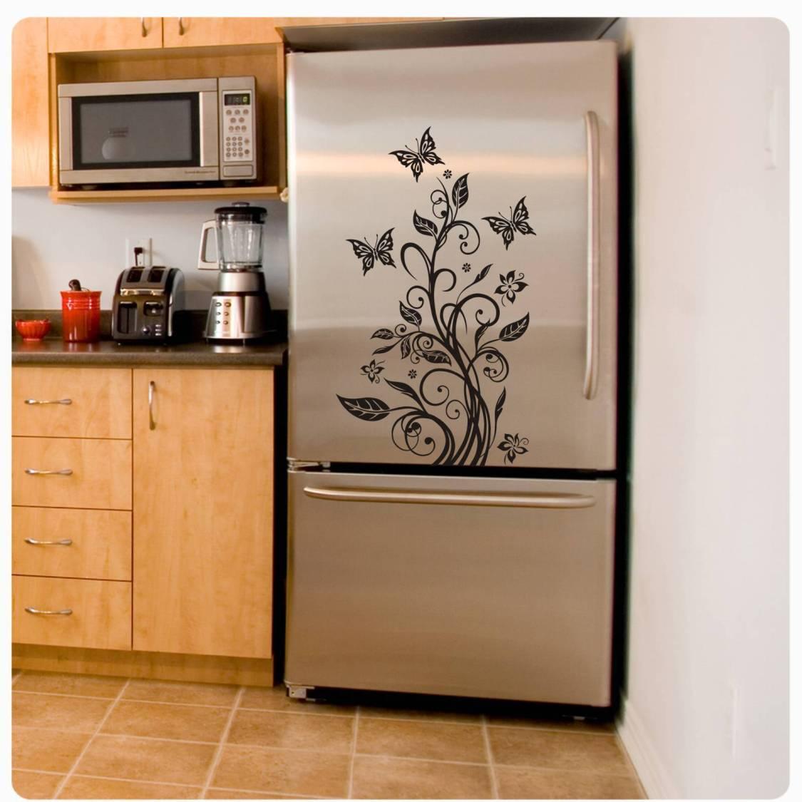 Kühlschrankaufkleber Hibiskus Schmetterling Kühlschrank Aufkleber Ranke K015