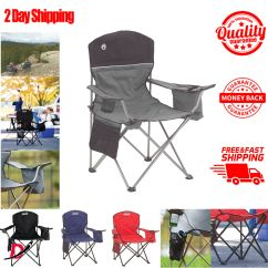 Folding Quad Chair Banquet Covers Wholesale Coleman Oversized With Cooler For Adults Camping Details About Cup Holder