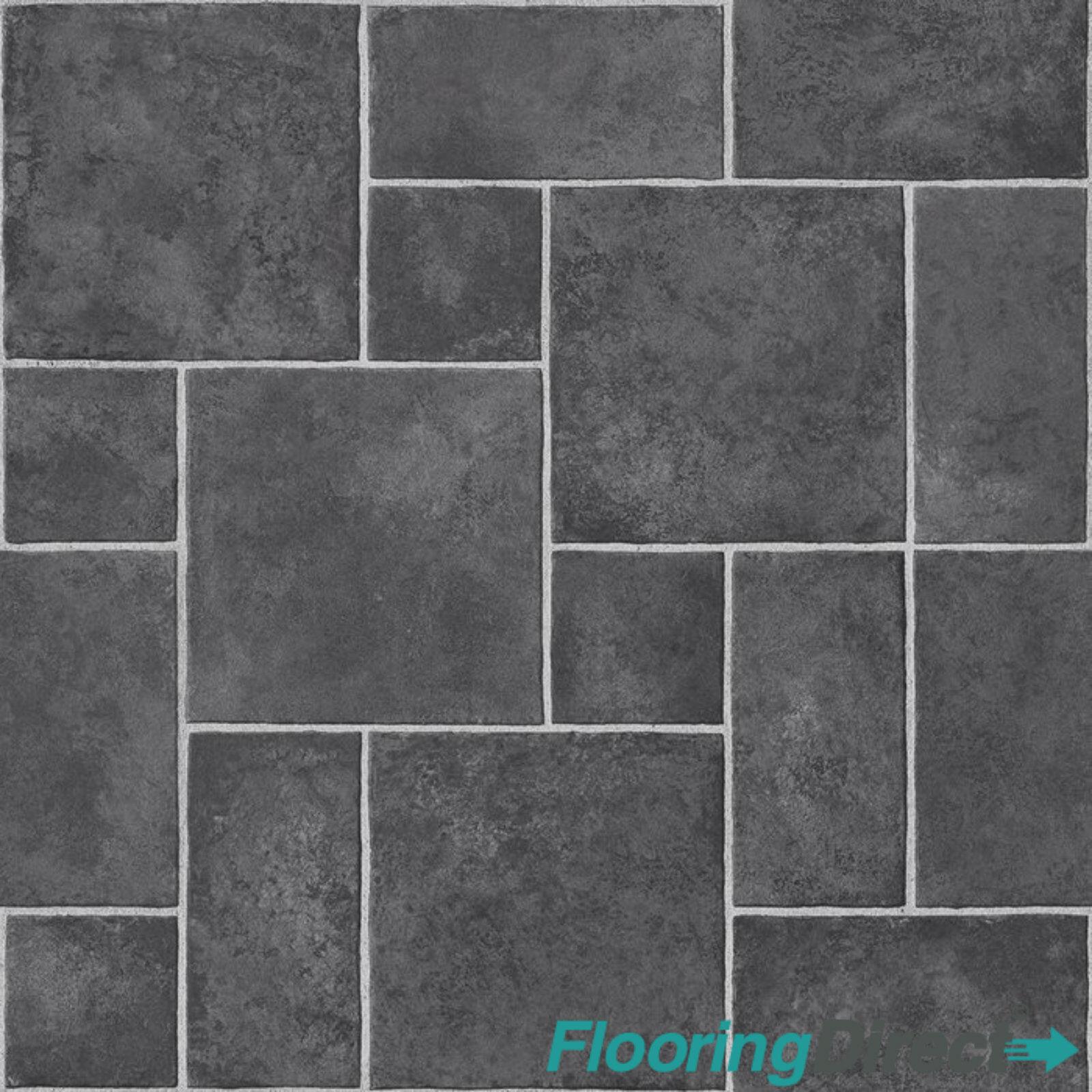 details about 4mm thick vinyl flooring dark grey black random slate lino kitchen bathroom