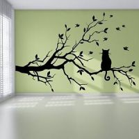 Cat Branch Birds Tree Modern Pretty Bedroom Wall Sticker