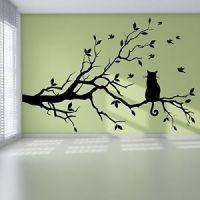 Cat Branch Birds Tree Modern Pretty Bedroom Wall Sticker ...