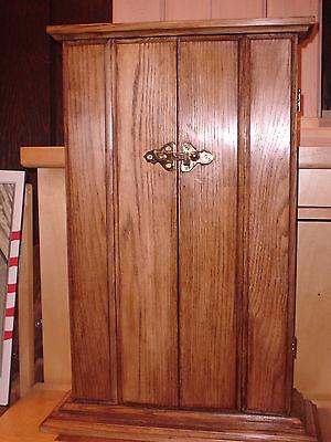 BUTSUDAN, dark oak stain, solid oak wood tri-fold doors brass bar latch