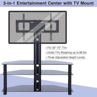 3-in-1 Floor TV Stand with Swivel Mount for 32-70 inch LED LCD Flat Screen TVs