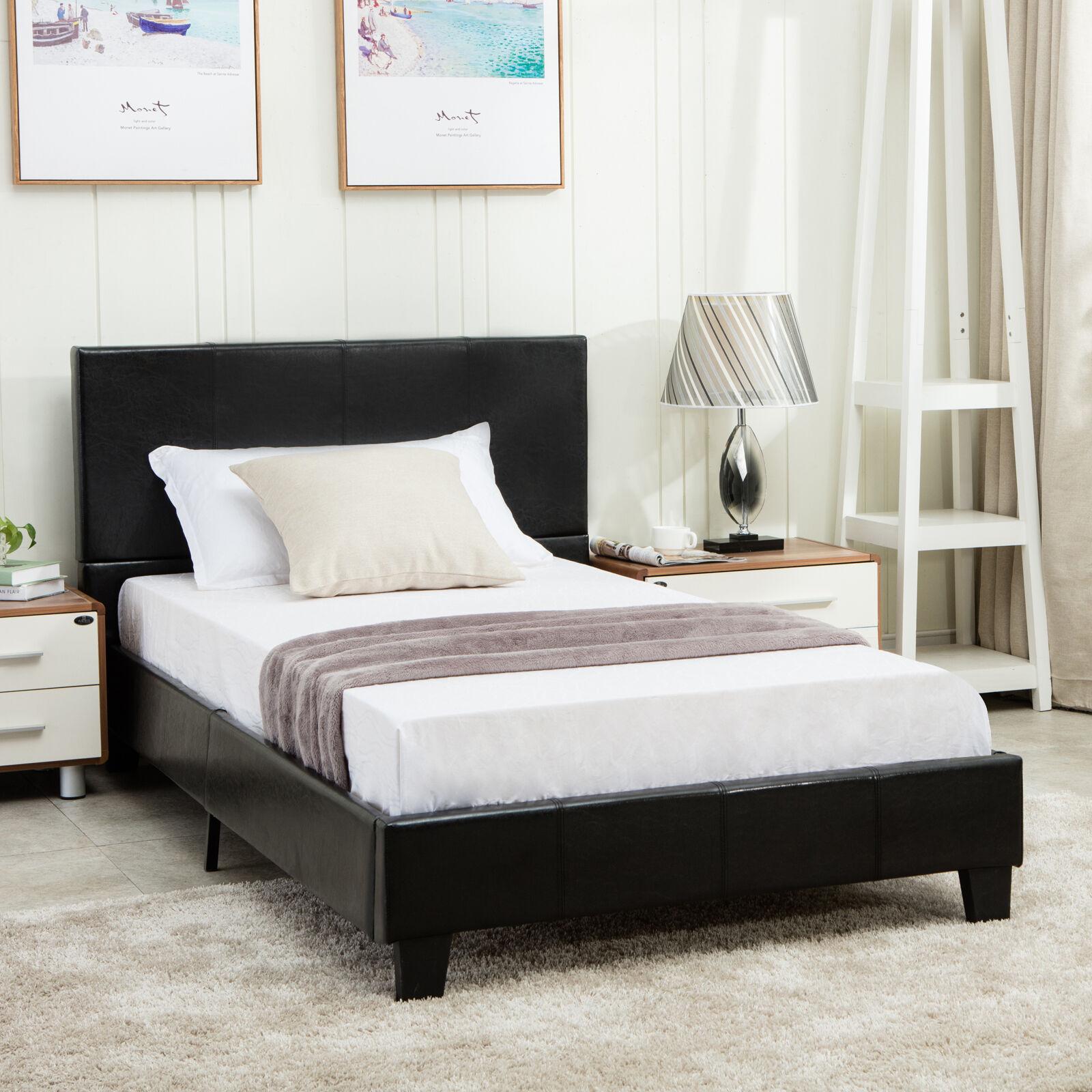 Full Size Faux Leather Platform Bed Frame & Slats Upholstered Headboard Bedroom 603161139437