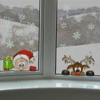 Peeking Santa & Rudolph Static Window Clings 28 Snowflakes ...