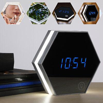LED Wecker digital Tischuhr Alarm Touch Thermometer Spiegel Nachtlicht Wanduhr