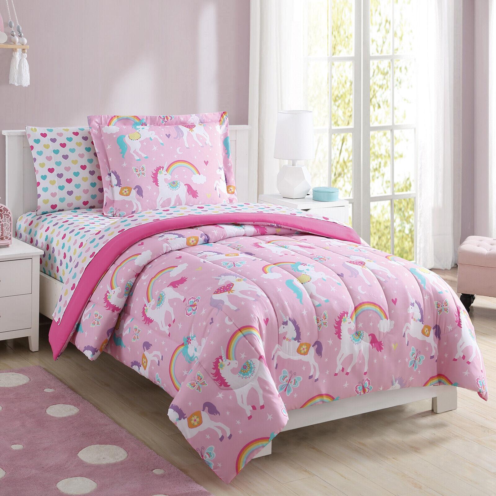 Bed In A Bag Bedding Set Kids Girls Bedroom Decor Rainbow Unicorn Full Size New 81806396658 Ebay