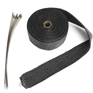Black Exhaust Header Heat Pipe Wrap Tape Turbo 10m + 10